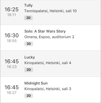 inKino 应用程序中的放映时间列表磁贴小部件。