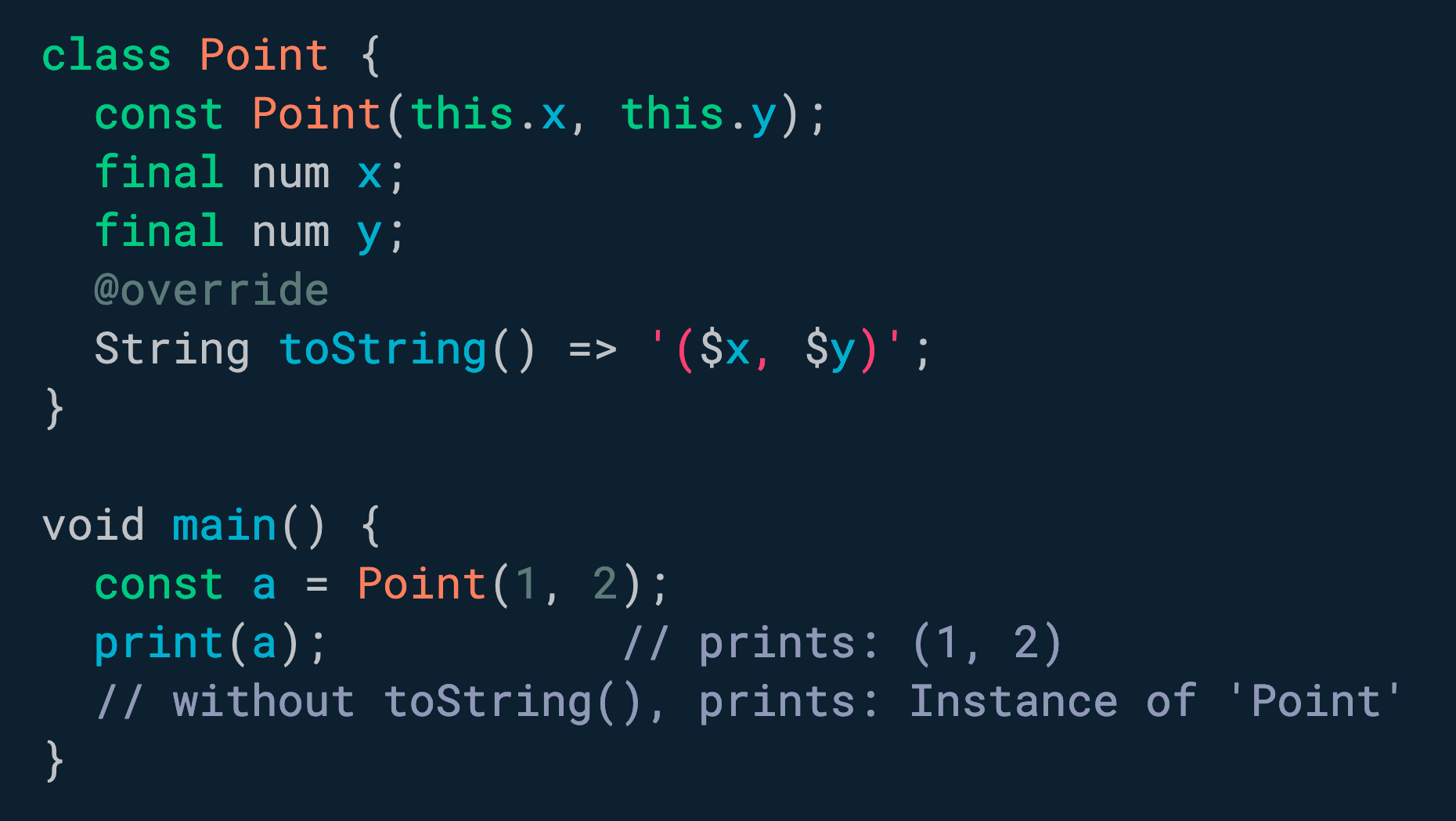 在您的类中实现 <!-- raw HTML omitted -->toString()<!-- raw HTML omitted --> 以改善调试体验。