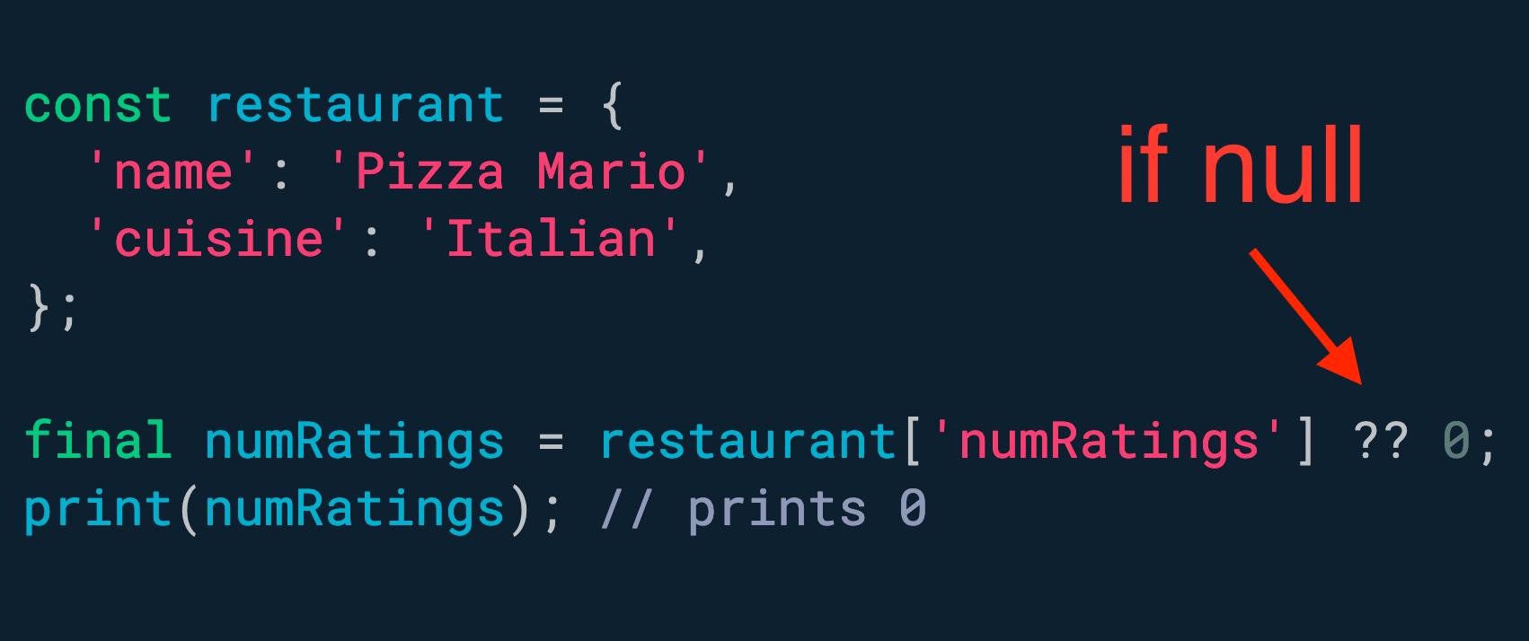使用 if-null 运算符为空值提供后备。