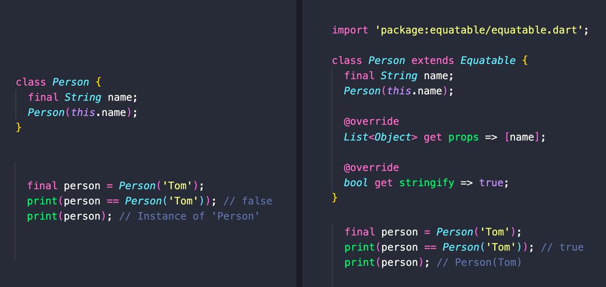 想要为您的类自动生成 hashCode、== 和 toString() 实现吗? 使用 Equatable 包: