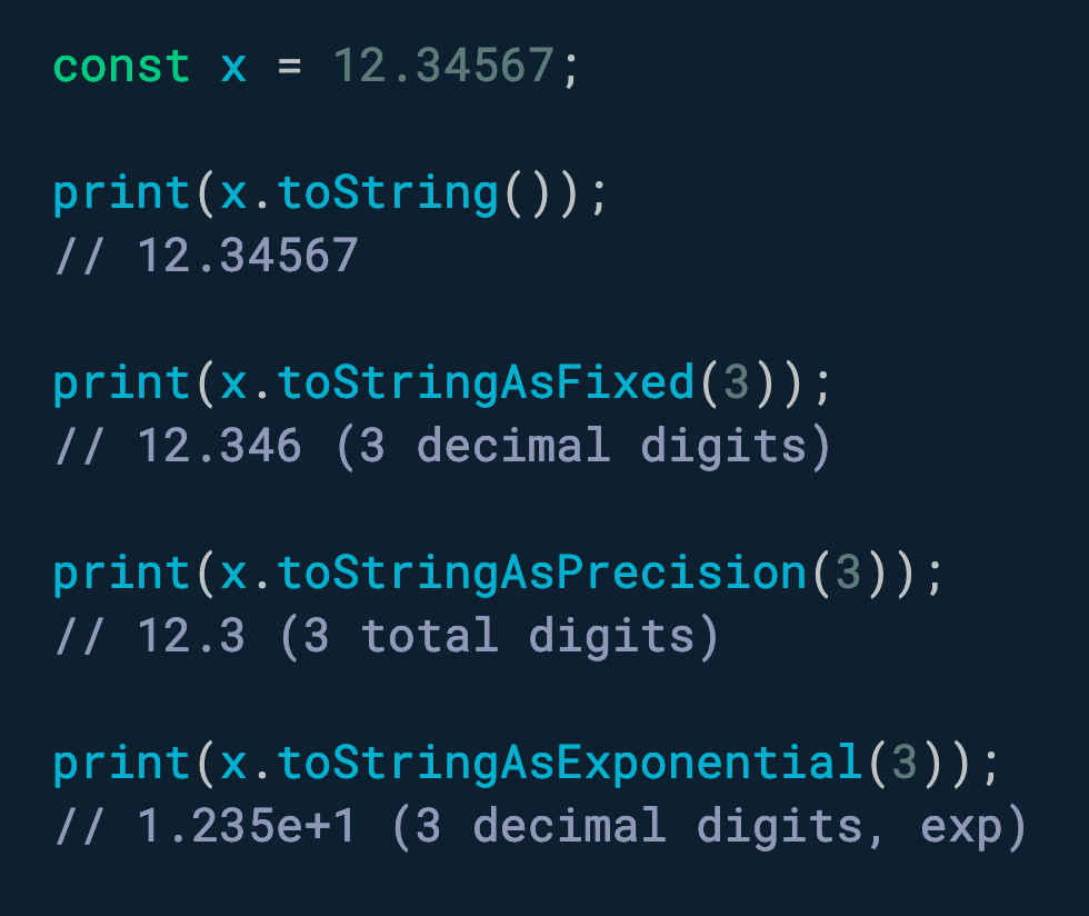 使用 toStringAsFixed(n) 格式化带有 n 个小数位的数字。