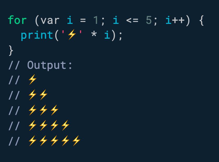 你知道吗? Dart 支持字符串乘法。