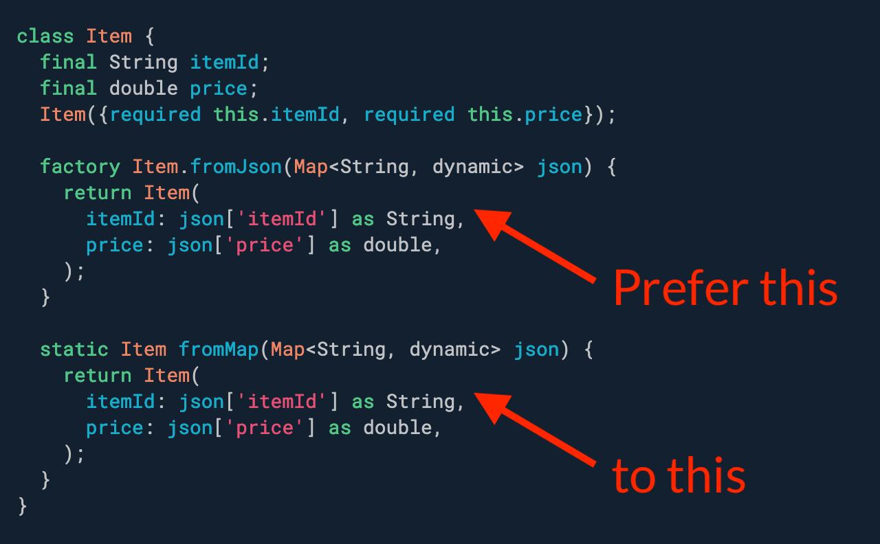 优先使用工厂构造函数而不是静态方法进行反序列化。