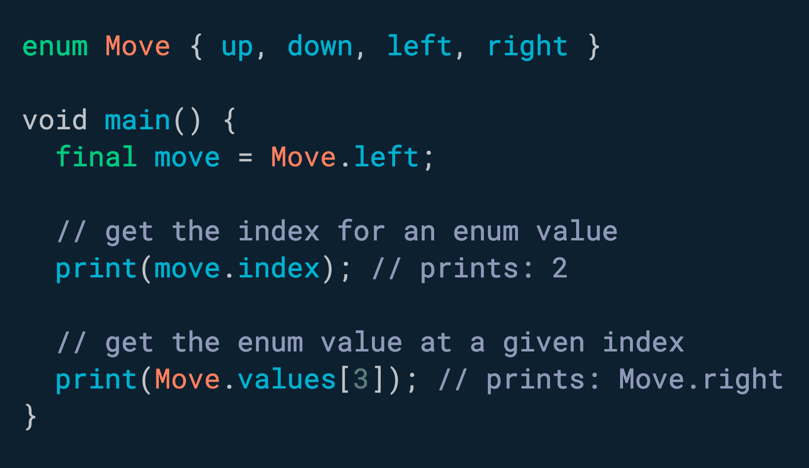 需要将枚举转换为 int 或反之亦然? 使用 .index 和 values[i]